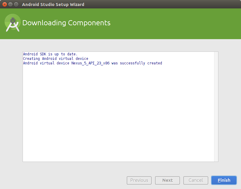 Android Studio Installation Downloading Components