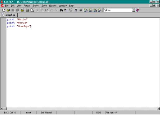 Anne Dawson: How to Use the ConTEXT editor with Python Programs