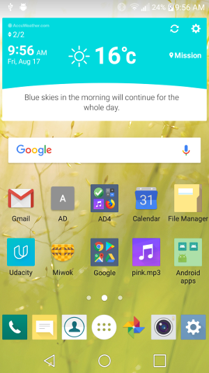 Picture of launcher screen on an Android phone